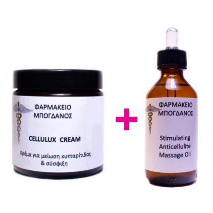 Cellulux Cream - Κρέμα για μείωση κυτταρίτιδας και σύσφιξη 120ml +STIMULATING ANTICELLULITE OIL ΛΑΔΙ ΚΑΤΑ ΤΗΣ ΚΥΤΤΑΡΙΤΙΔΑΣ 100 ml